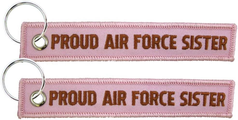 Eagle Crest Proud Air Force Sister Pink Embroidered Key Chain