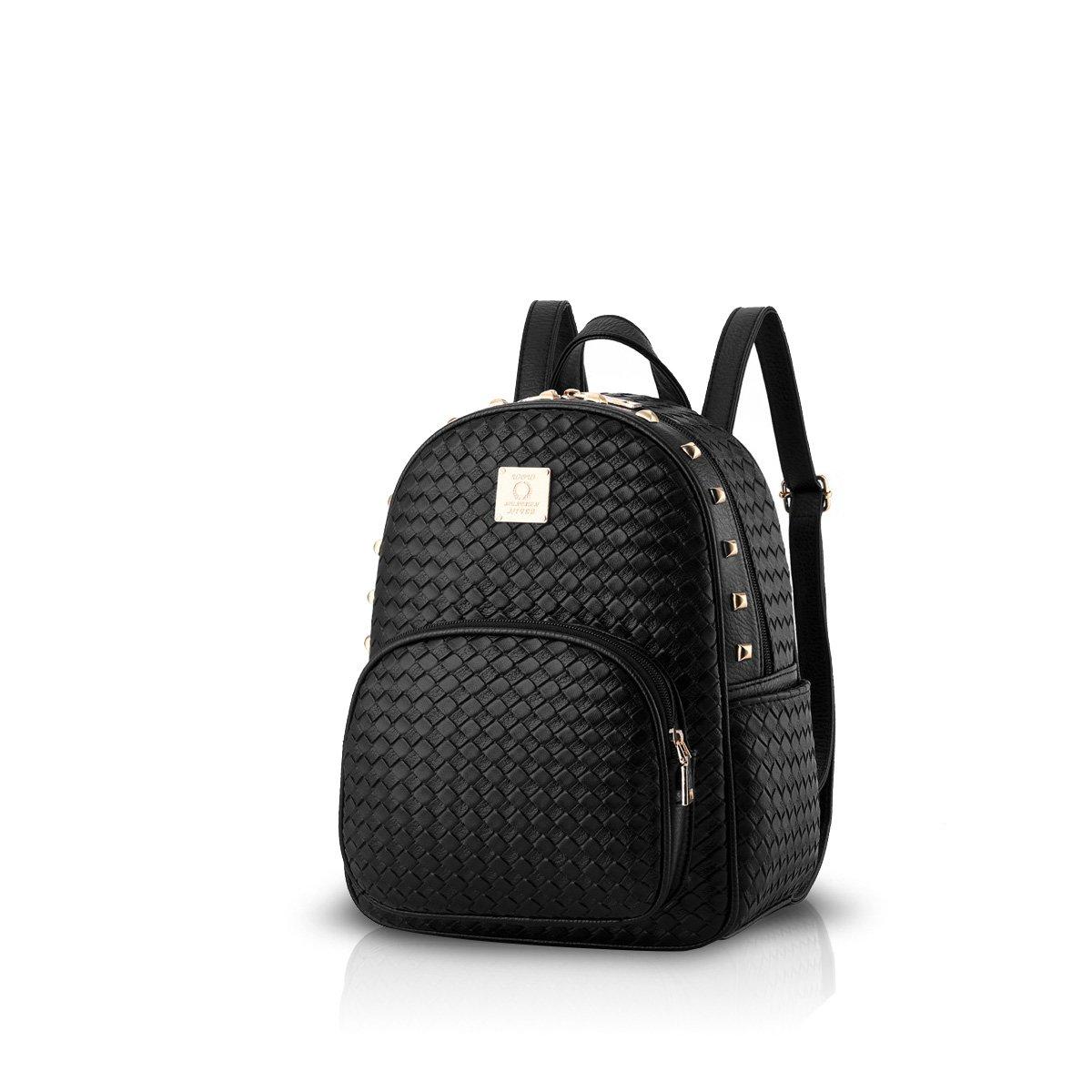 NICOLE & DORIS New Women Backpack Travel ladies Backpack Shoulder Bag PU Leather Fashion college backpack Black