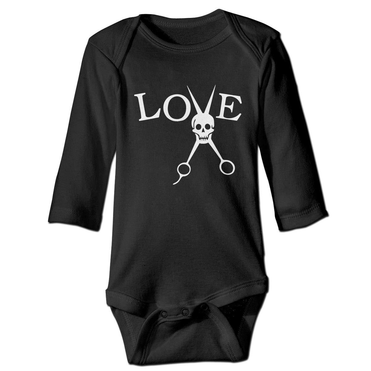 Newborn Barber Hair Stylist Love Skull Long Sleeve Climbing Clothes Playsuit Suit 6-24 Months