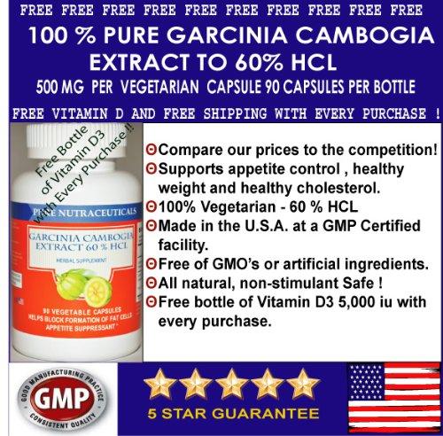 # 1 Pure Extrait de Garcinia Cambogia 60% Meilleur Vendeur HCA 500 mg 90 Caps Veggie (Featuring cliniquement prouvée, extrait 60% HCA pour perte de poids) 1.500 mg par portion Plus Gratuit vitamine D 3 Plus Livraison gratuite!