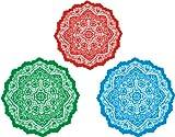 Indigos 4051719845280 Wall Tattoo ME211 Plant Ornament Tribal Rug Circles 40 x 31 CM