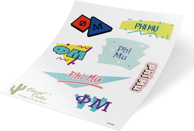 Phi Mu Themed Sticker Decal Laptop Water Bottle Car (Full Sheet - 90's)