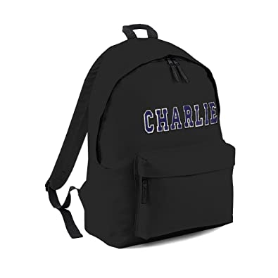 66558343c0c2 Personalised Backpack For Kids. Black Bag - Blue Letters  Amazon.co.uk   Shoes   Bags