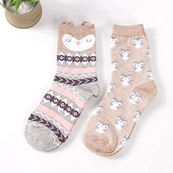 LILIKI@ 2 Pares/Porción Calcetines Coreanos Mujeres Algodón Lindo De Dibujos Animados Zorro Panda Conejo Animal Calcetines Calcetines 18 Estilos: Amazon.es: ...
