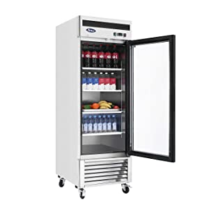 Commercial Glass Door Refrigerator, Atosa Single Door Beverage Showcase Bottom Mount Stainless Steel Refrigerators for Restaurant 21 cu.ft. 33℉—45℉, MCF8705