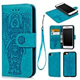 iPhone 7 Wallet Case, iPhone 8 Case Embossed Love PU Leather Case Full Protective Anti-Scratch Resistant Cover Magnetic Case Slot Wrist Strap Case for iPhone 7 & iPhone 8 (Elephant-Blue) Review