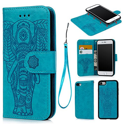 iPhone 7 Wallet Case, iPhone 8 Case Embossed Love PU Leather Case Full Protective Anti-Scratch Resistant Cover Magnetic Case Slot Wrist Strap Case for iPhone 7 & iPhone 8 (Elephant-Blue)