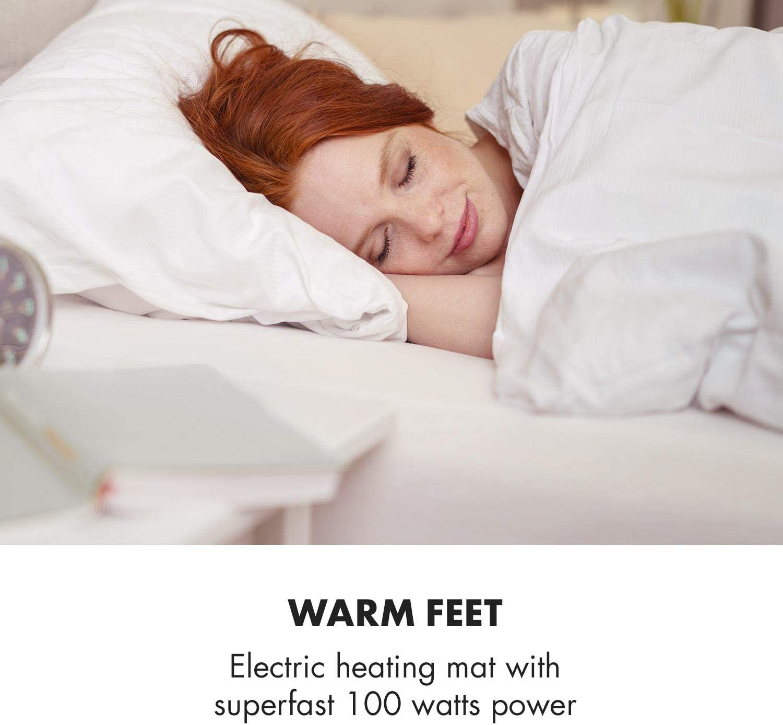 Klarstein Dr. Watson Heatzone XL - Manta eléctrica, Calentador de Cama, Alfombra térmica, 75 x 50 cm, 100 W, 3 Niveles, Micro Felpa, Funda extraíble, Protección Calor, Temporizador, Gris: Amazon.es: Hogar