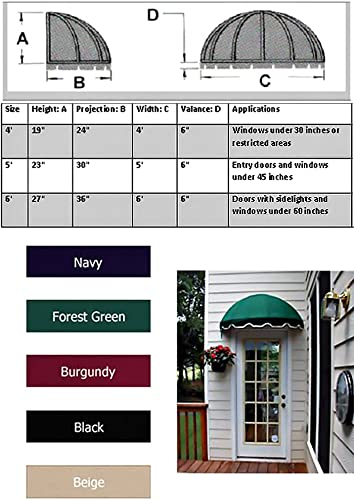 Dome Style Window Awning or Door Canopy 6 Wide in Sunbrella Awning Fabric – Green