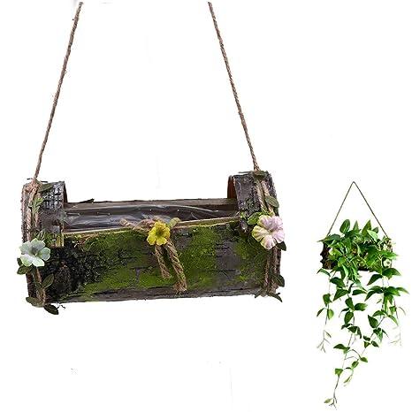 Pflanztopf natur Blumen Holz Pflanz-Nest mit Kunststoff-Einsatz zum bepflanzen