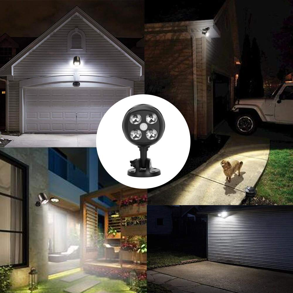YULAMP LED Motion Sensor Spotlights, Wireless Battery-Operated Outdoor Wall Light 600 Lumen 4 LED Wireless Security Lights Waterproof for Patio, Garden, Garage, Path (2 Pack) by YULAMP (Image #7)