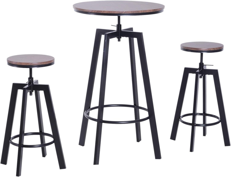 HOMCOM Conjunto Mesa y 2 Sillas Taburetes Mueble Redonda Bar Restaurante Juego de 3 Piezas Comedor Estilo Industrial Vintage Altura Ajustable Madera y Acero