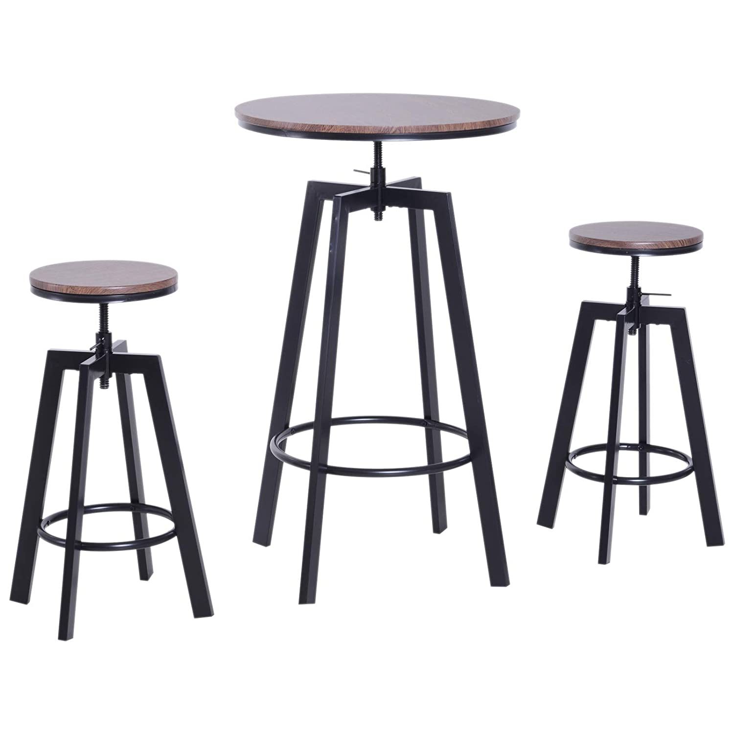 Admirable 3 Piece Bar Height Adjustable Industrial Modern Indoor Bistro Table Set Onthecornerstone Fun Painted Chair Ideas Images Onthecornerstoneorg