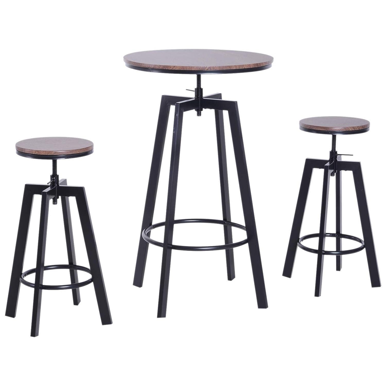 3 Piece Bar Height Adjustable Industrial Modern Indoor Bistro Table Set