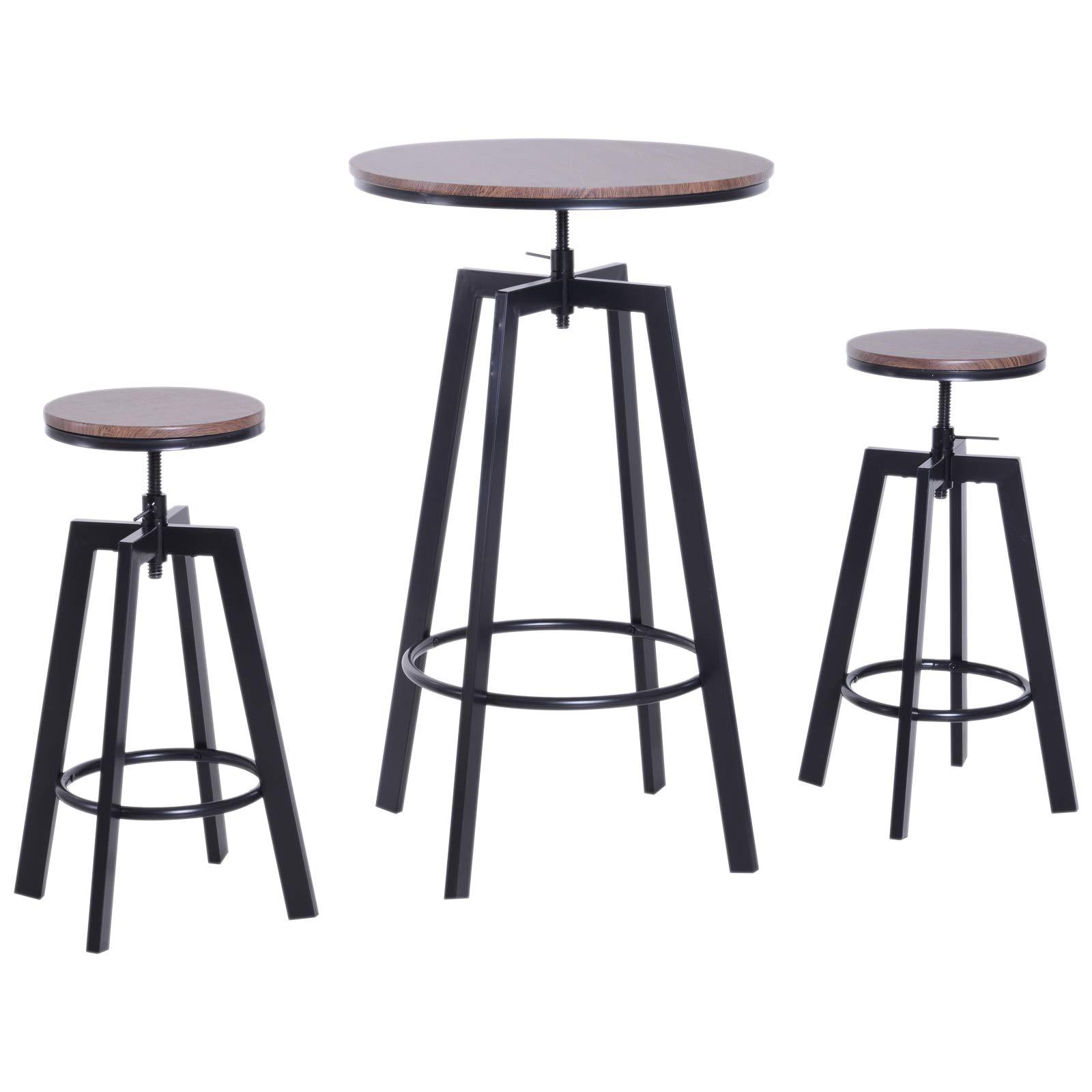 3 Piece Bar Height Adjustable Industrial Modern Indoor Bistro Table Set by HOMCOM