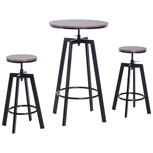 3 Piece Bar Height Adjustable Industrial Modern Indoor Bistro Table Set
