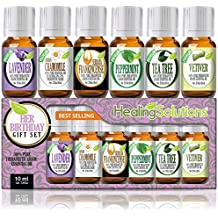 Birthday Gift for Her Set 100% Pure, Best Therapeutic Grade Essential Oil Kit - 6/10mL (Frankincense, French Lavender, Peppermint, Roman Chamomile, Tea Tree, and Vetiver)