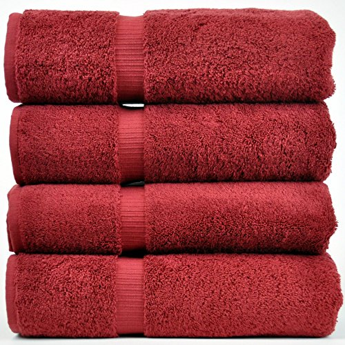 Red Towel (Chakir Turkish Linens Turkish Cotton Luxury Hotel & Spa Bath Towel, Bath Towel - Set of 4, Cranberry)