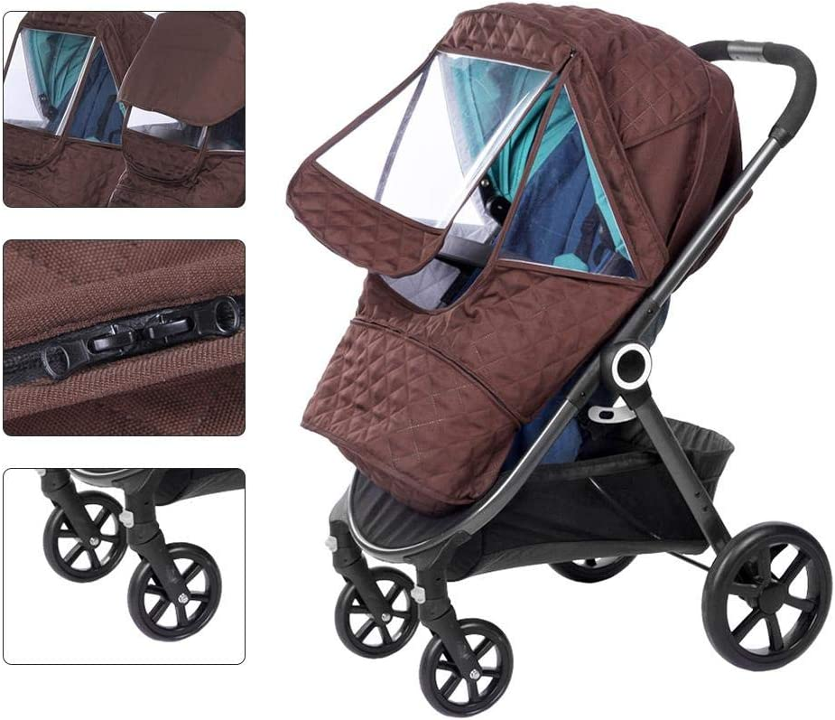 Universal Stroller Weather Shield EVA Clear Zip Front Opening Windproof Snow-Proof Easy to Install for Outdoor Use Thicken Warm Baby Stroller Rain Cover Stroller Cover
