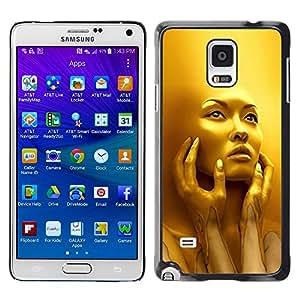 iKiki Tech / Estuche rígido - Face Young Woman Fashion Bling - Samsung Galaxy Note 4 SM-N910F SM-N910K SM-N910C SM-N910W8 SM-N910U SM-N910