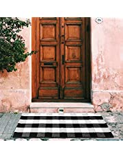 MELAJIA Buffalo Plaid Rug Cotton Hallway Runner Black and White Checkered Outdoor Doormat 2' x 4.3'