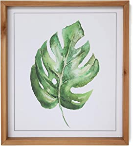 SANY DAYO HOME Green Tropical Leaf Art 16 x 14 inches Rustic Wood Framed Wall Hanging Graphic Painting for Home, Kitchen, Bathroom Modern Farmhouse Decor - Palm Leaf