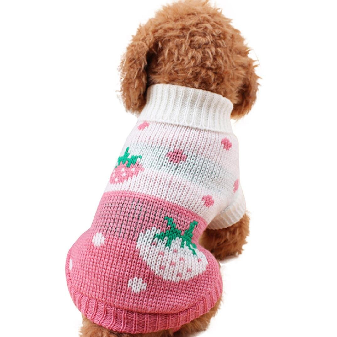 Woaills Hot Sale!!Small Dogs Pet Soft Puppies Sweater Clothes (L, Pink)