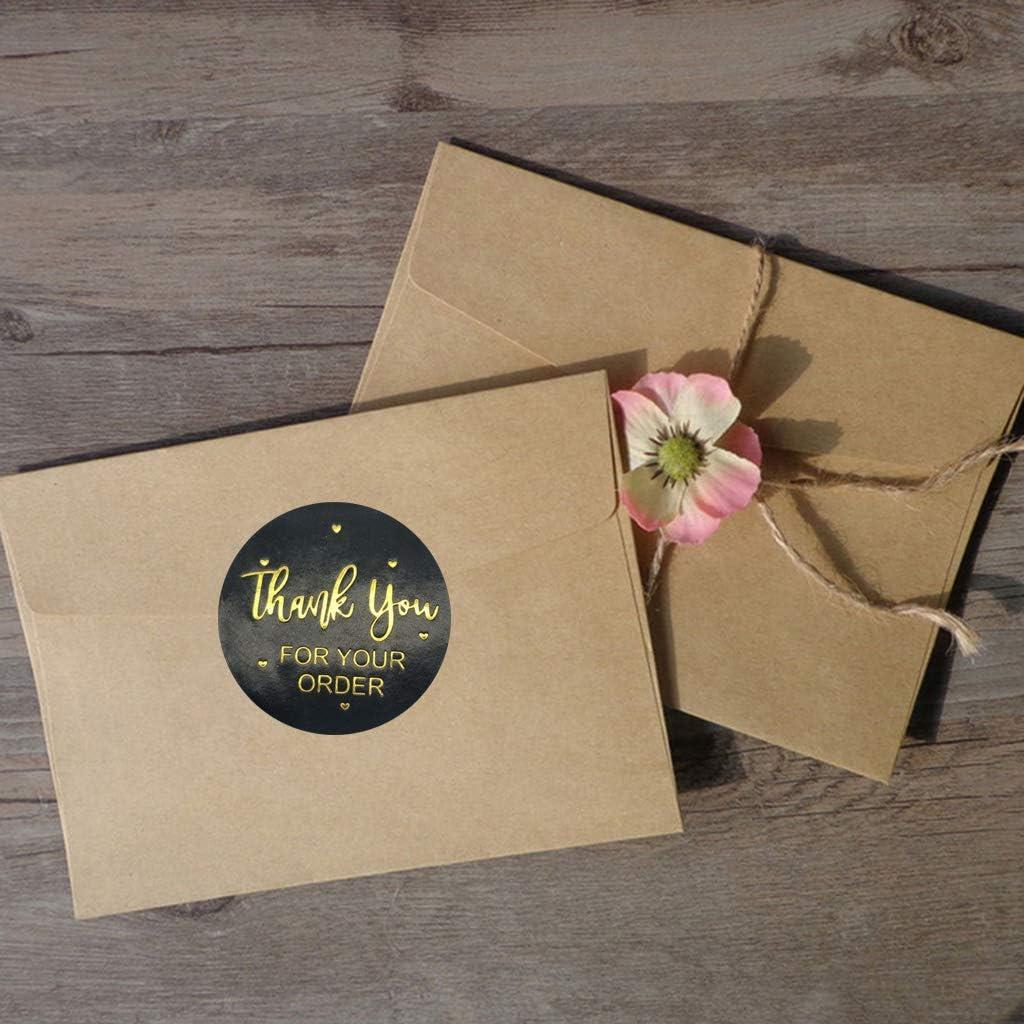Xzbnwuviei Sello adhesivo de agradecimiento decorativo 500 pegatinas de agradecimiento por su orden etiqueta de sello de papel dorado para hornear bolsas de regalo papeler/ía decoraci/ón de boda