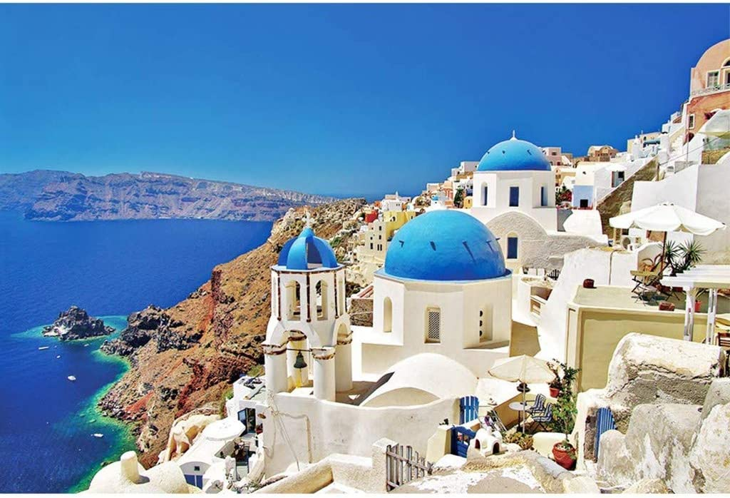 BONJIU Jigsaw Puzzles for Adults 1000 Piece Puzzle for Adults Kids Gift Europe Santorini Landscape Jigsaw Puzzles