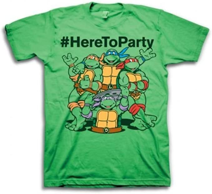 Teenage Mutant Ninja Turtles #HereToParty Hashtag Here To Party Adult Green T-Shirt