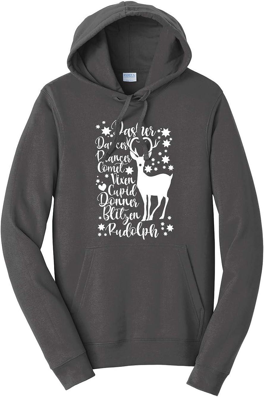 Tenacitee Unisex Christmas Reindeer Names Hooded Sweatshirt