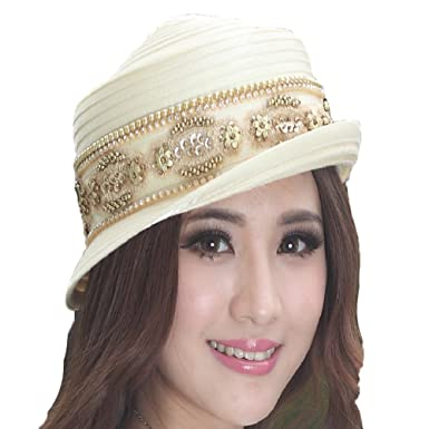 3a70d2dc621 June s Young Elegant Church Hat Women Satin Hat (Off-white) at Amazon Women s  Clothing store