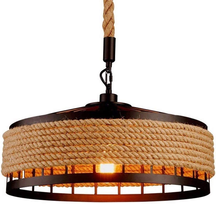 E27 Retro cuerda de cáñamo luces Rústico hierro candelabro colgante de luz colgando lámpara de techo Antiguo iluminación Edison comedor Restaurante Cocina Altura Ajustable Iluminación (Ø40cm)