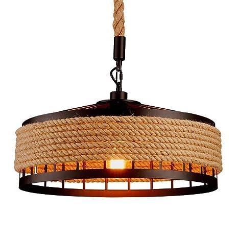 E27 Retro cuerda de cáñamo luces Rústico hierro candelabro colgante de luz colgando lámpara de techo Antiguo iluminación Edison comedor Restaurante ...