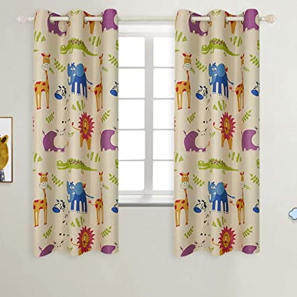 Good BGment Kids Blackout Curtains   Grommet Thermal Insulated Room Darkening  Printed Animal Zoo Patterns Nursery And