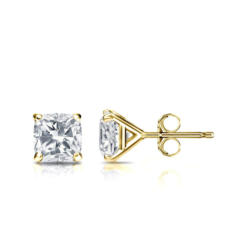 14k Yellow Gold Cushion Diamond Simulant CZ Men Stud Earrings 4-Prong (1cttw,Excellent Quality)
