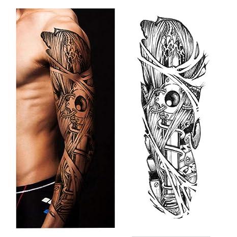 Etiqueta engomada del tatuaje Modelo de flor de brazo completo ...