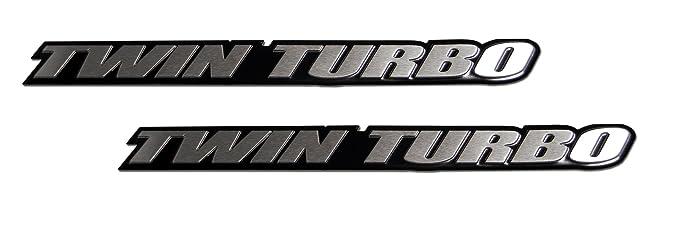 2 x (pair/Set) Twin Turbo Aluminum Emblems Badges for Nissan 300ZX Z32 G35 Skyline GTR GT-R 350Z Maxima Ultima Subaru WRX STi: Amazon.es: Coche y moto
