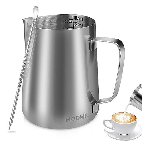 HOOMIL Jarra para Leche para Espumar de Acero Inoxidable para Café y Latte Art (20fl.oz/600ml)