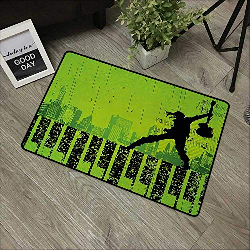 Living Room Door mat W24 x L35 INCH Popstar Party,Music in The City Theme Singer with Electric Guitar on Grunge Backdrop,Lime Green Black Non-Slip Door Mat Carpet]()