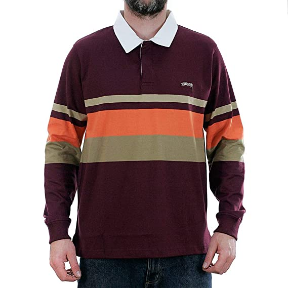 de6e8ee9af6 Stussy Lucas Stripe Long Sleeved Rugby Shirt Maroon: Amazon.co.uk: Clothing