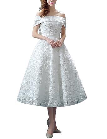 Lafee Bridal Lace Off Shoulder Wedding Dresses Tea Length A Line