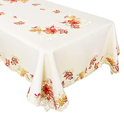 Grelucgo Embroidered Maple Leaves Harvest Tablecloth for Thanksgiving Holidays, Fall or Autumn (Rectangular 58 × 83 Inch) best Thanksgiving tablecloths