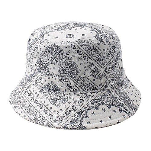 Cap2Shoes Men's Bandana Paisley Bucket Hat One Size White -
