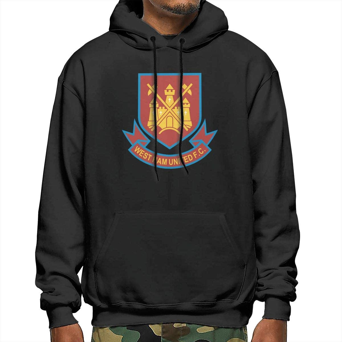 Takeyia Mens West Ham United Football Club Logo Hoodies Top for Adult Sweatshirt Black Hoodies