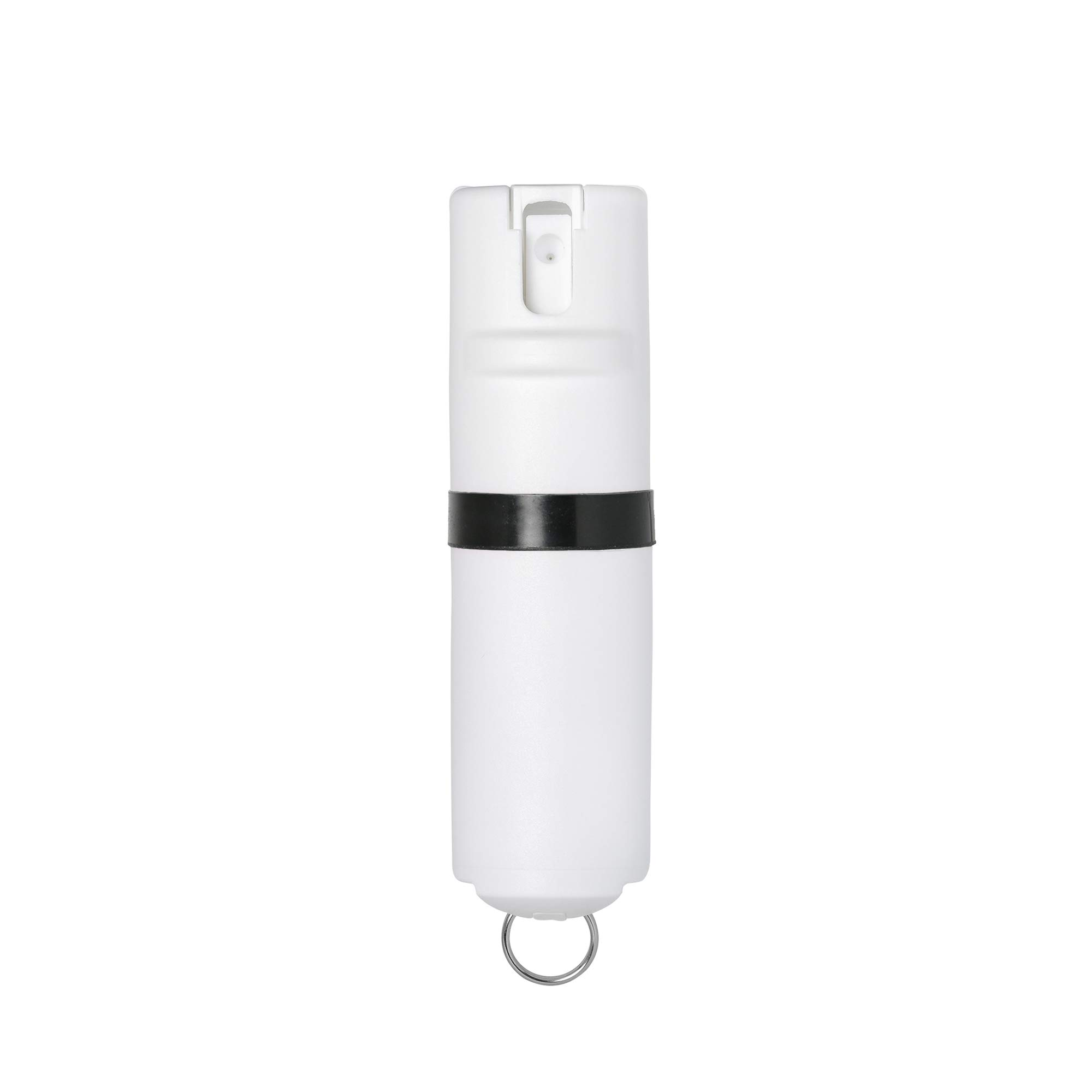 POM White Pepper Spray Keychain Model - Maximum Strength Self Defense OC Spray Safety Flip Top 10ft Range Compact Discreet for Keys Backpack Quick Key Release (Black) by POM