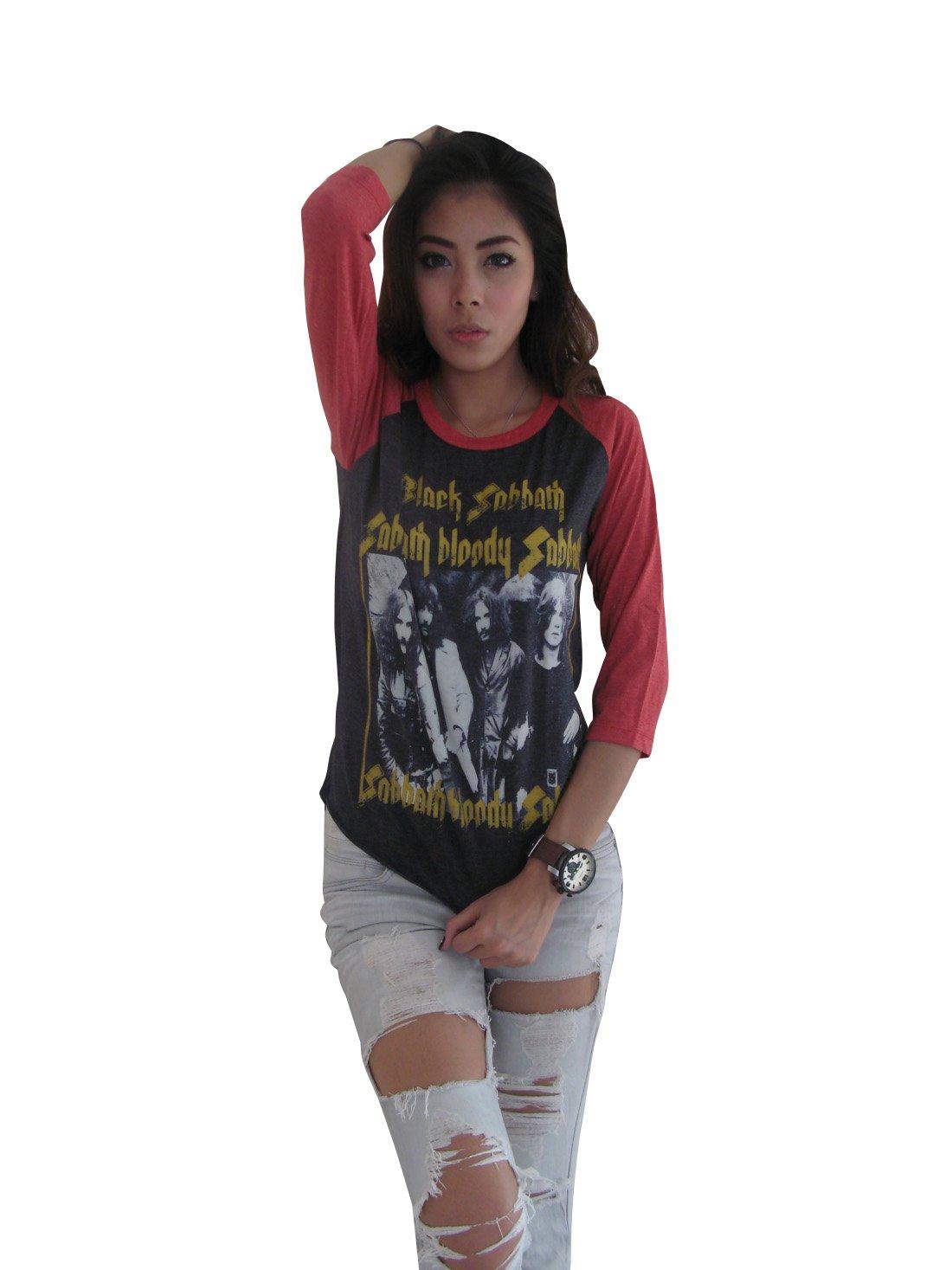 Bunny Brand Women's Black Sabbath Bloody Sabbath Ozzy Osbourne Raglan T-Shirt (Large, Gray)
