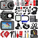 VEHO MUVI K-Series K-2 1080p 16MP Wi-Fi Sports Action Camera w/ 64GB 28PC Sport Action Bundle - Window Mount - Helmet Mount - Opteka X-GRIP Action Handle - High Power LED Video Light and MUCH MORE