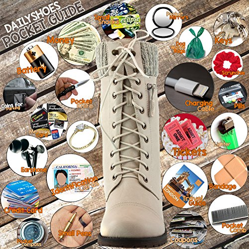 Credit Wallet Pocket Card Style Military Knit up Ivory Boots Women's Ankle Bootie DailyShoes PU Money Knife White Quilted Combat w0v1OE6qzH