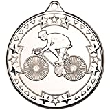 Lapal Dimension CYCLING 'TRI STAR' MEDAL - SILVER 2in PACK OF TEN